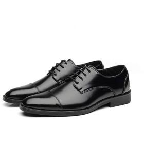 [Jusheng-shoes] メンズシューズ ファッションメンズドレスシューズのためのビジネスオックスフォードはフェイクレザーポインテッドトゥロートップブロックヒールビーガンバーニッシュスタイルの滑り止めのレースアップ カジュアルシューズ (Color : ブラック, サイズ : 23.5 CM)