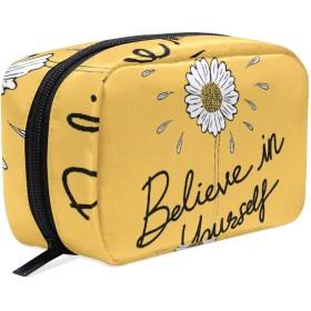 GUKISALA 化粧ポーチ,自分を信じてタイポグラフィ動機付けのポジティブスローガン,大容量コスメケース多機能旅行用高品質収納ケース メイク ブラシ バッグ 化粧バッグ ファッションバッグ
