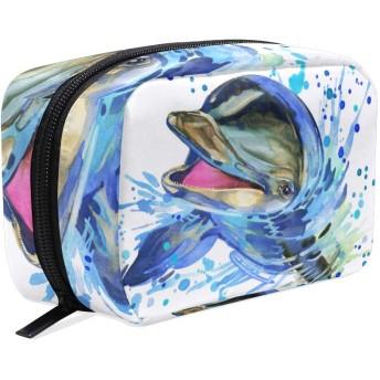 GUKISALA 化粧ポーチ,面白いイルカ水彩イラスト海洋の自然,大容量コスメケース多機能旅行用高品質収納ケース メイク ブラシ バッグ 化粧バッグ ファッションバッグ