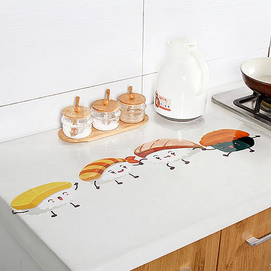 ✭米菈生活館✭【Q156】透明卡通圖防油貼紙 廚房抽屜  灶台 自黏貼紙 瓷磚 防油 油煙牆貼 櫃子