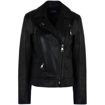 《セール開催中》KARL LAGERFELD レディース ブルゾン ブラック 46 羊革(ラムスキン) 100% Ikonik Odina Biker Jacket