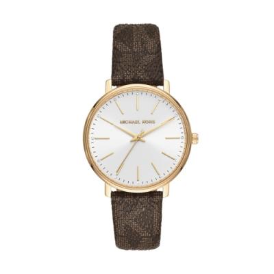 MICHAEL KORS經典LOGO紋路真皮腕錶MK2857