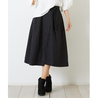 Green Parks(グリーンパークス)。ラップドットギャザースカート (ロング丈・マキシ丈スカート)Skirts