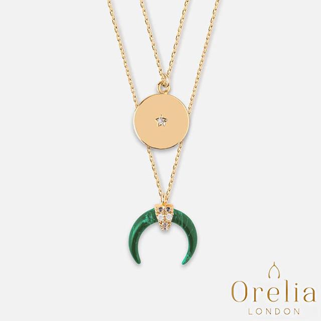【英國 Orelia】Crescent & Corn 時尚月牙翠綠大理石層次鍍金項鍊