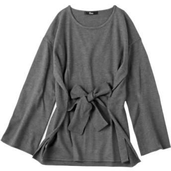 ウエストベルトデザインニットチュニック (大きいサイズレディース、ニット・セーター)plus size sweater