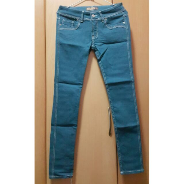 合身窄版顯瘦中低腰牛仔褲