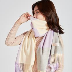 【KISSDIAMOND】歐風加厚喀什米爾羊絨格子系列兩用披肩圍巾-KD-A002SLT-紫灰格紋(加絨/保暖/舒適/百搭)