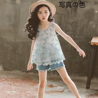 韓国子供服 2点セット カジュアル ナチュラル ジーンズパンツ チョッキ+半ズボン デニム レース ノースリーブ パンツ 薄手 セットアップ