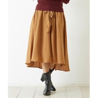 Green Parks(グリーンパークス)。イレヘムサテンスカート (ロング丈・マキシ丈スカート)Skirts, 裙子