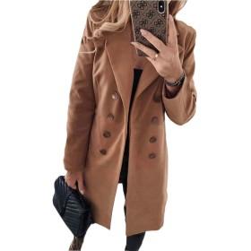 chenshiba-JP 女性の冬のソリッド屋外ダブルブレストウールブレンドピージャケット Khaki XS
