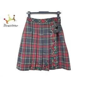 ロイスクレヨン Lois CRAYON 巻きスカート サイズM レディース 美品 チェック柄/ラインストーン 新着 20191120
