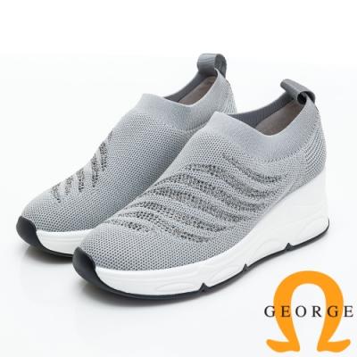 GEORGE 喬治皮鞋 火焰水鑽編織厚底休閒鞋-灰色