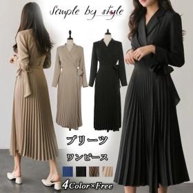 韓国ファッション/ジャケットプリーツワンピース/トレンド感たっぷり ジャケット重ね着風 プリーツロングワンピース