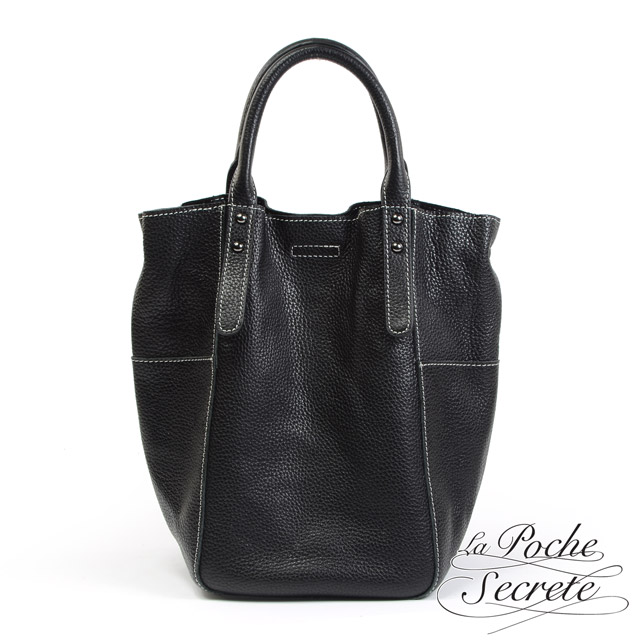 La Poche Secrete手提包 真皮簡約無內裡2WAY手提側背直筒包-百搭黑