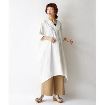 【ふりふ】牡丹刺繍シャツワンピース