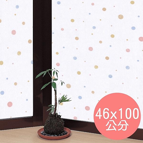 日本製造 MEIWA抗UV節能靜電窗貼 (和風彩球) - 46x100公分
