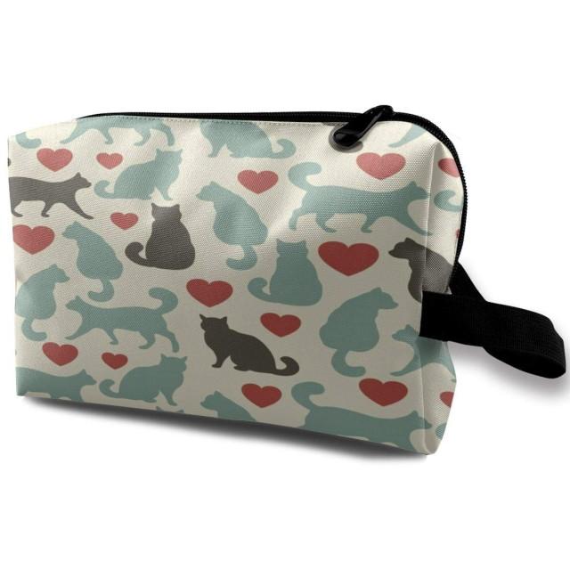 猫の心とバレンタインデーのパターン 化粧ポーチ 化粧品ポーチ メイクポーチ 多機能 大容量 普段使い