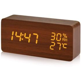 置き時計 目覚まし時計 デジタル 木目調 LED表示 アラームクロック 温度湿度計 大音量 音声感知 明るさ3段調節 省エネ 卓上時計 日本語説明書付き CosyLife