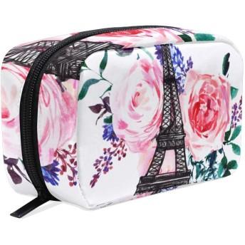 GUKISALA 化粧ポーチ,背景にエッフェル塔,大容量コスメケース多機能旅行用高品質収納ケース メイク ブラシ バッグ 化粧バッグ ファッションバッグ