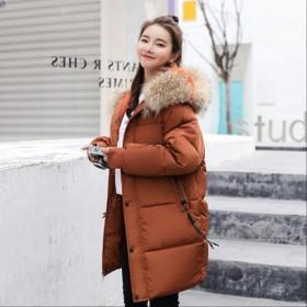 冬のフード付きウォームダウンジャケット女性カジュアルロングダウンジャケット厚い綿パイクジャケットSキャラメル