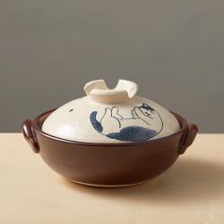 有種創意 - 日本萬古燒 - 手繪土鍋8號-貓咪打呼(2.1L)