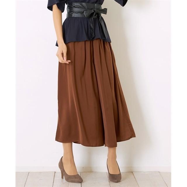Green Parks(グリーンパークス)ギャザーワイドスカーチョ (ロング丈・マキシ丈スカート)Skirts, 裙子