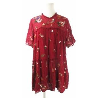 【中古】ザラウーマン ZARA WOMAN ワンピース ミニ 半袖 刺繍 スパンコール 花柄 総柄 M 赤 レッド /AH4 ★