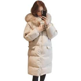 [Bestmood]中綿コート レディース 綿入れ ロングコート ゆったり フード付き 冬服 防寒着 無地 フードファー あったか 防風 レディースコート 大きいサイズ 黒 ダウンコート(Qベージュ)