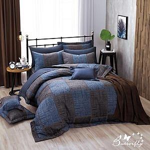 【BUTTERFLY】台製40支紗純棉-加高30cm薄式加大床包枕套三件組-西部牛仔