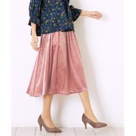 Green Parks(グリーンパークス)。ベロアギャザーロングスカート (ロング丈・マキシ丈スカート)Skirts, 裙子
