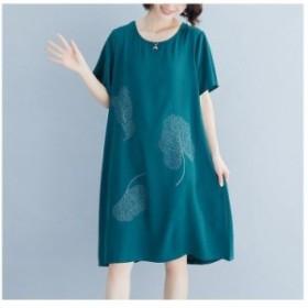 ロングワンピース  Aラインワンピース 大きいサイズ レディース 半袖 体型カバー 着痩せ 上品 大人 夏 春 20代 30代 40代50代 60代