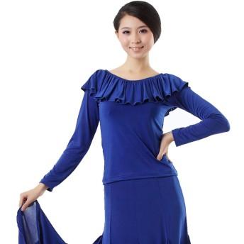 ラテンダンスは長袖の女の子サルササンバタンゴチャチャルンバラウンドネック蓮の葉長袖モダンダンスシャツパーティーシャツトップス (Color : Blue, Size : L)