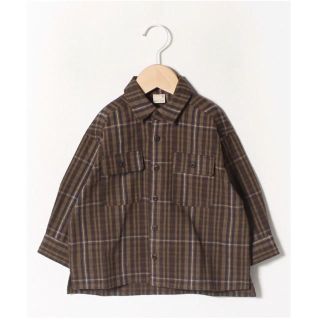 petit main ビッグシルエットチェックシャツ(ブラウン)【返品不可商品】