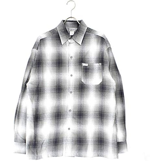 CALTOP(キャルトップ) OMBRE CHECK L/S SHIRTS (GREY/WHITE, M)