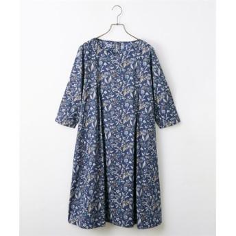 綿100%大人の花柄タック入ワンピース (ワンピース)Dress, 衣裙, 連衣裙