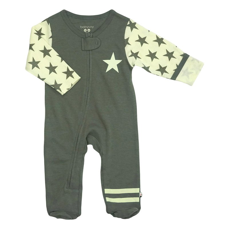 美國Babysoy-有機棉時尚灰復古星星包腳連身衣