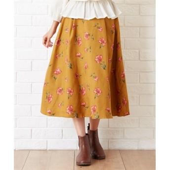 Green Parks(グリーンパークス)。RAY フェイクスエード花柄スカート (ロング丈・マキシ丈スカート)Skirts, 裙子