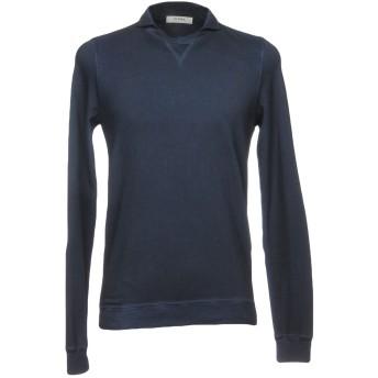 《セール開催中》ALPHA STUDIO メンズ スウェットシャツ ブルー 46 コットン 100%