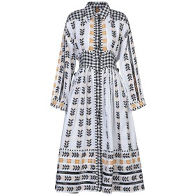 《セール開催中》DODO BAR OR レディース 7分丈ワンピース・ドレス ホワイト S コットン 100%