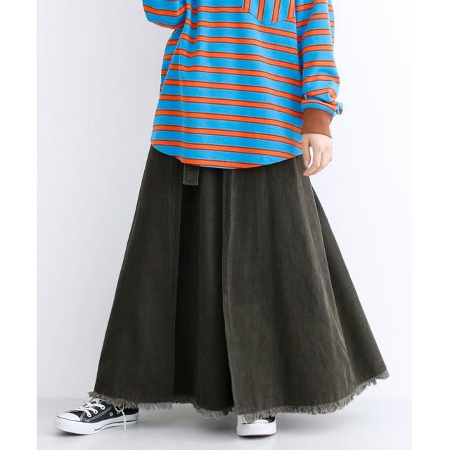 メルロー merlot ベルト付きコーデュロイフリンジスカート (チャコールグレー)