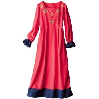 ネイティブ柄刺しゅうロングワンピース (大きいサイズレディース)ワンピース, plus size dress