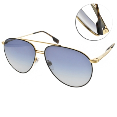 BURBERRY太陽眼鏡 復古飛官款/黑金-漸層藍 # B3108 10174L