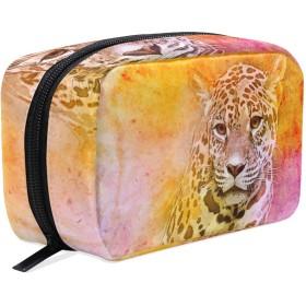 GUKISALA 化粧ポーチ,アメリカのジャガーの図,大容量コスメケース多機能旅行用高品質収納ケース メイク ブラシ バッグ 化粧バッグ ファッションバッグ