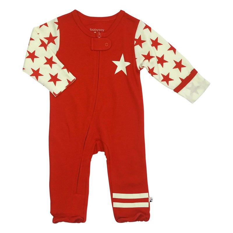 【預購】美國Babysoy-有機棉豔陽紅復古星星包腳連身衣