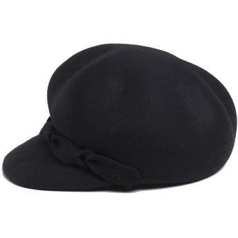 ベレー帽 ベレツ 女性 無地 ヘアリー 8角形キャップ 秋と冬 暖かい 帽子 レディース防寒防風暖かいの冬ベレー帽 (Color : Black)