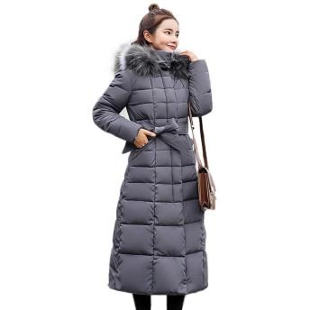 中綿コート 中綿ジャケット レディース 毛皮襟 ファー付き襟 ロング丈 ダウンジャケット アウター フード付き 秋冬 防風 保温 防寒