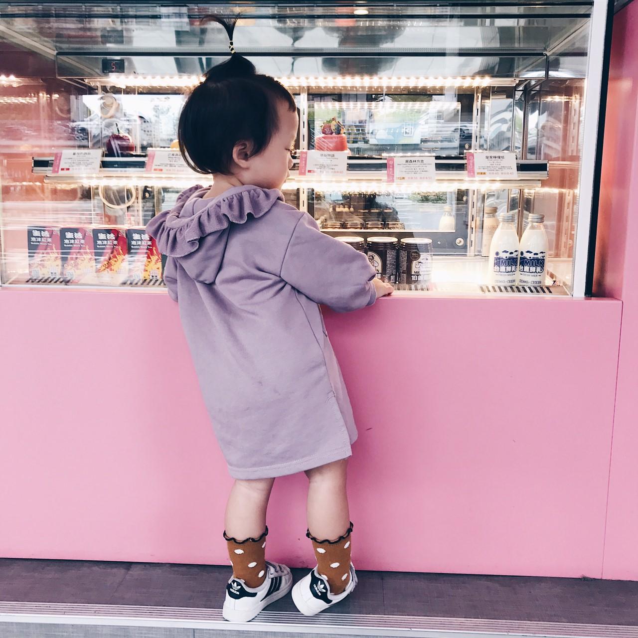 女童毛圈棉荷葉邊連帽長版衛衣 長袖上衣 花邊 帽T 連帽上衣 長版上衣 女童 橘魔法 現貨 童裝【p0061195805460】