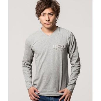 シルバーバレット CavariAベア天竺コード刺繍Vネック長袖Tシャツ メンズ グレー 44(M) 【SILVER BULLET】