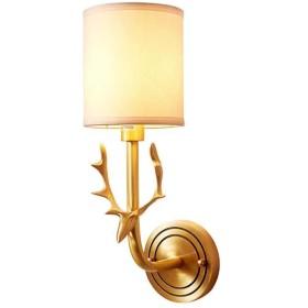 現代ウォールライト屋内LED布ランプシェードウォールランプアメリカンナイトライト、ベッドルーム用のホルダ、廊下、通路、E27、MAX60W(銅)
