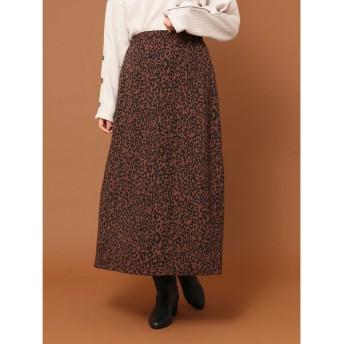 グリーンパークス Green Parks SUGAR SPOON レオパードAラインスカート (Brown)